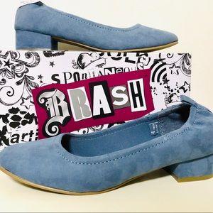 "NIB Brash blue suede like with 1""heel"